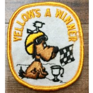 "Vintage ""Yellow's a Winner"" Race Car Vest Patch"